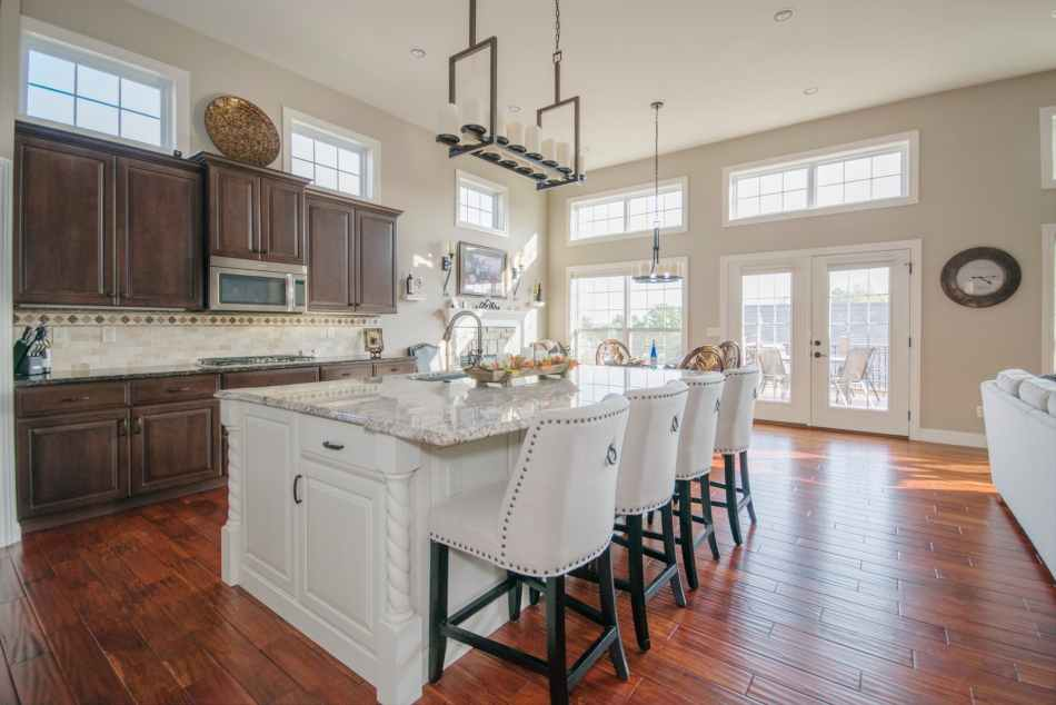 rectangular white wooden kitchen table